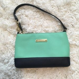 Mint and Navy Clutch